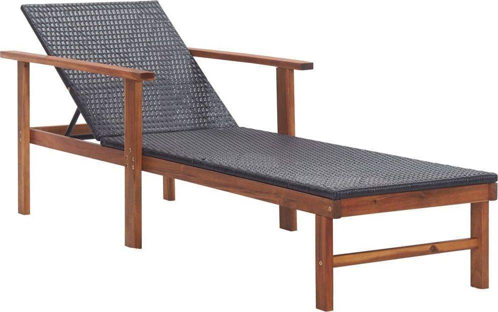 vidaXL leżak, polirattan i lite drewno akacjowe, czarny (48706) 1