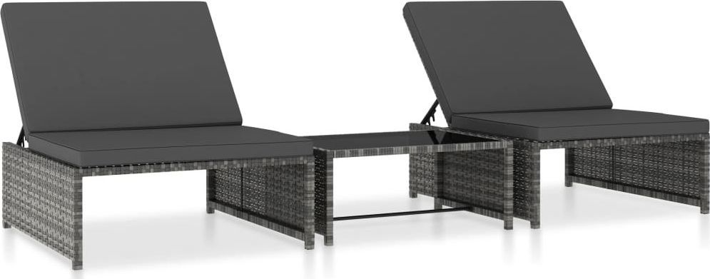 vidaXL leżaki 2 sztuki, ze stolikiem, polirattanowe, szare (47401) 1