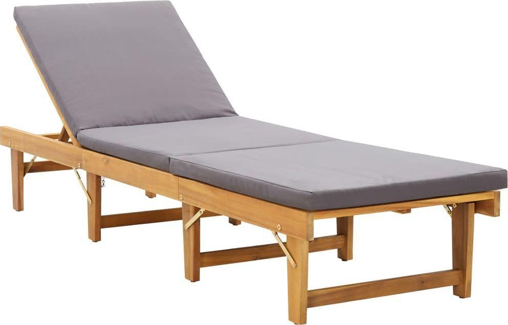 vidaXL składany leżak z poduszką, lite drewno akacjowe (46491) 1