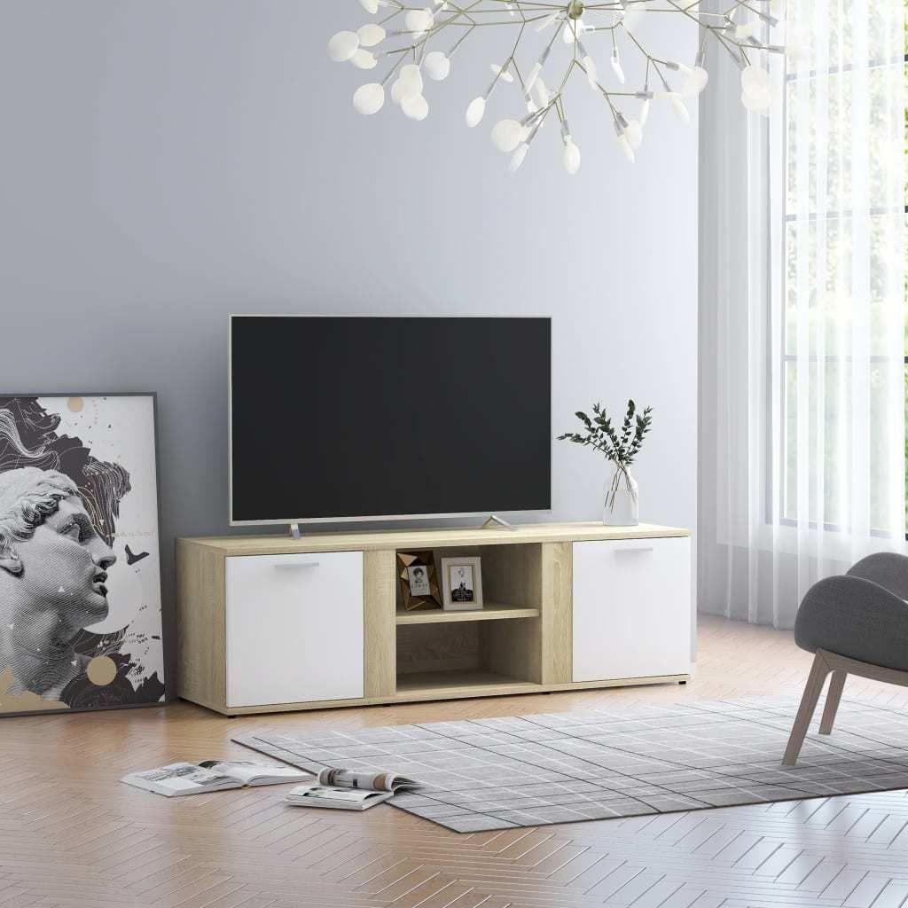vidaXL Szafka TV, biel i dąb sonoma, 120x34x37 cm, płyta wiórowa 1