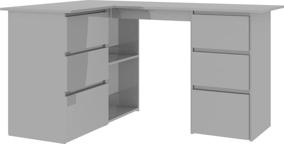 Biurko vidaXL narożne o wysokim połysku 6 szuflad i 2 półki 145x100x76 1