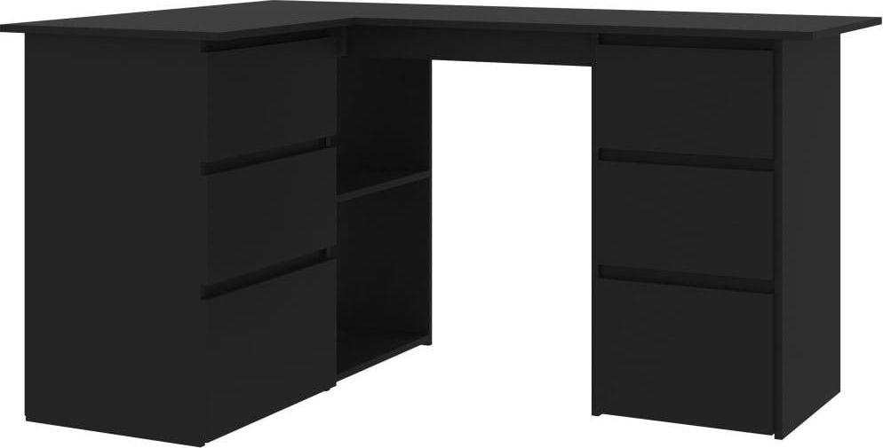 Biurko vidaXL narożne 6 szuflad i 2 półki 145x100x76 1