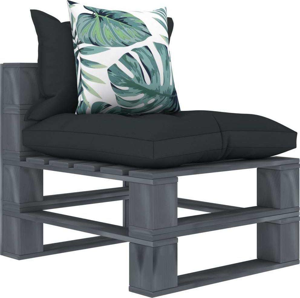 vidaXL Ogrodowe siedzisko z palet z poduszkami w 2 kolorach, drewniane 1