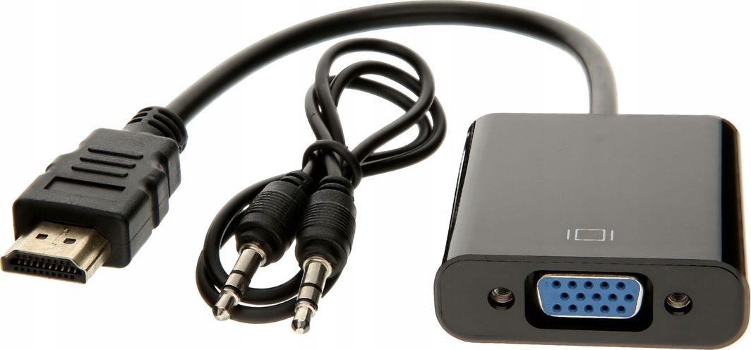 Adapter AV Pawonik HDMI - D-Sub (VGA) + Jack 3.5mm czarny (JL-H1003) 1