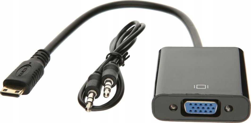 Adapter AV Pawonik HDMI Mini - D-Sub (VGA) + Jack 3.5mm czarny (JL-H2002) 1