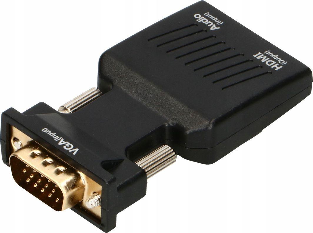 Adapter AV Pawonik HDMI - D-Sub (VGA) + Jack 3.5mm czarny (JL-V1002) 1