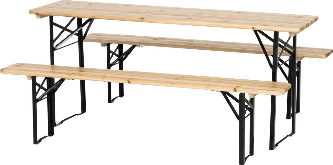 4Living Zestaw stół+2 ławki Wooden Beer brązowy 1