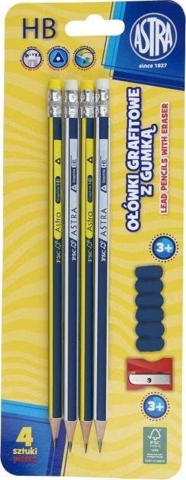 Astra Ołówek grafitowy z gumką 4szt + temp.+ nakł. ASTRA 1