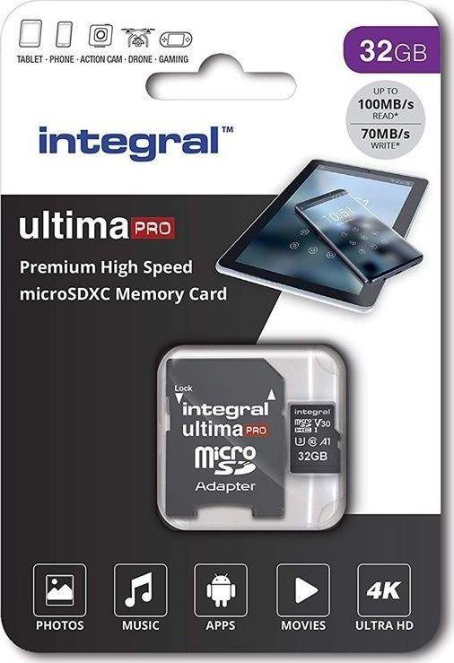 Karta Integral Ultima Pro Premium MicroSDXC 32 GB Class 10 UHS-I/U3 A1 V30 (36567-uniw) 1