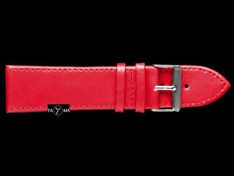 Pasek skórzany do zegarka - bordowy - 24mm uniwersalny 1
