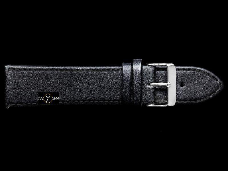 Pasek skórzany do zegarka - czarny/czarne - 16mm uniwersalny 1