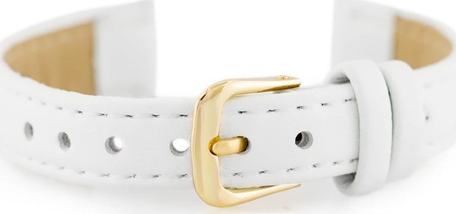 Pasek skórzany do zegarka - biały/złoty - 12mm uniwersalny 1