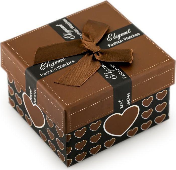 Prezentowe pudełko na zegarek - serduszka brązowe uniwersalny 1
