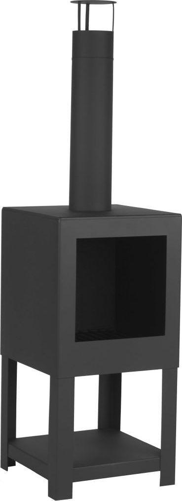 vidaXL Esschert Design Kominek ogrodowy ze schowkiem na drewno, czarny, FF410 1