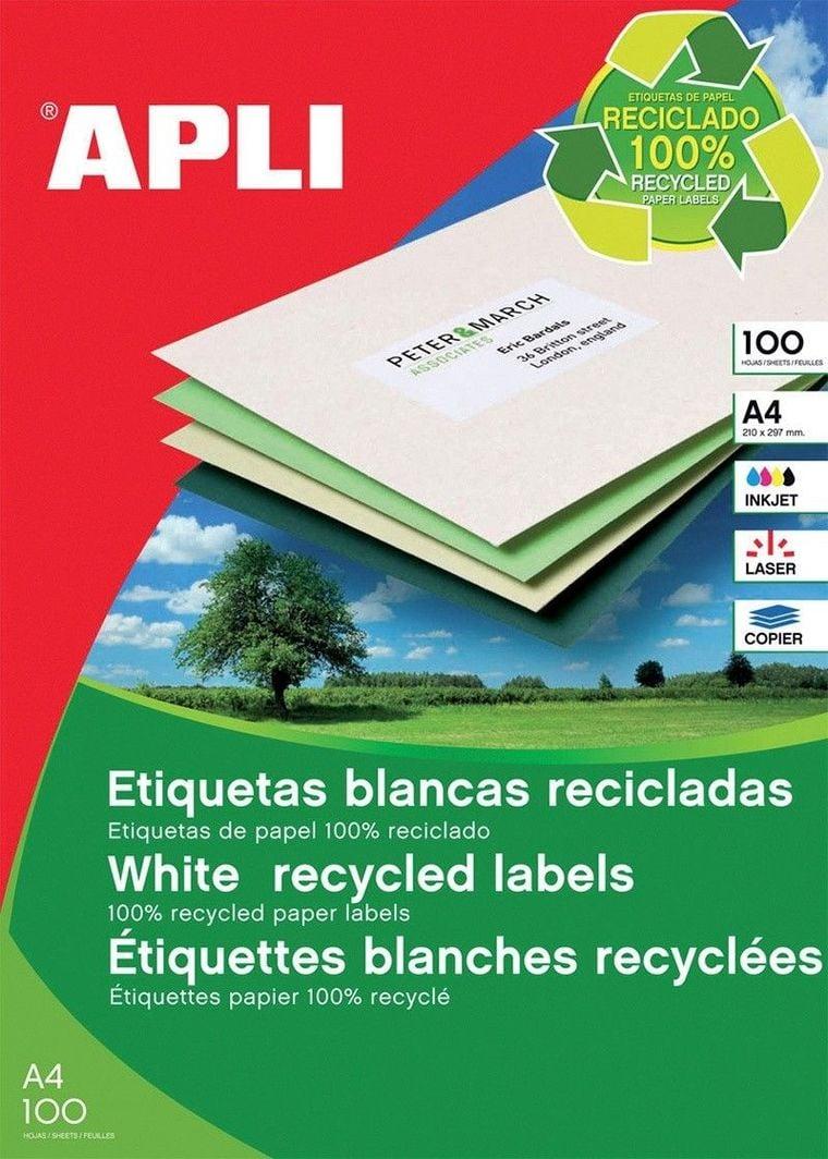 Apli Etykiety ekologiczne APLI, 210x297mm, prostokątne, białe 1