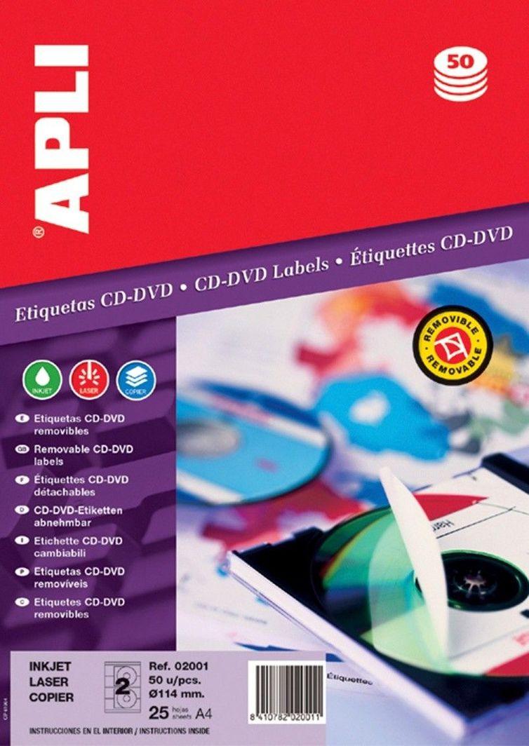 Apli Etykiety na płyty CD/DVD APLI, średnica 114/41mm, okrągłe, białe 1