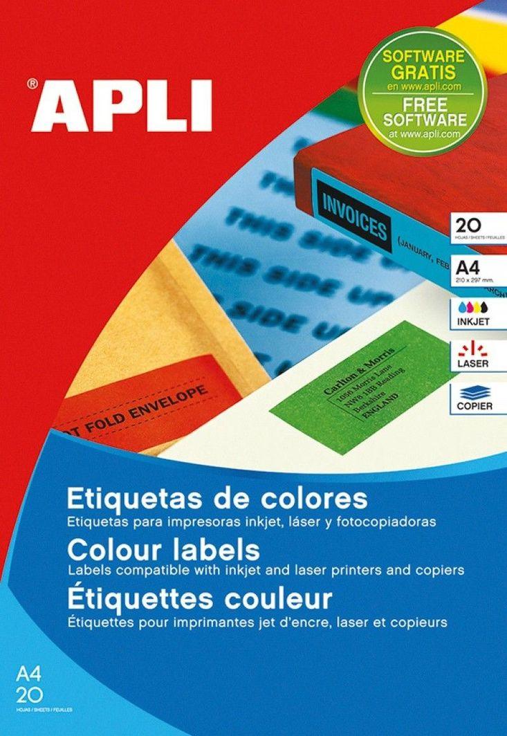 Apli Etykiety kolorowe APLI, 210x297mm, prostokątne, niebieskie, 20 ark. 1