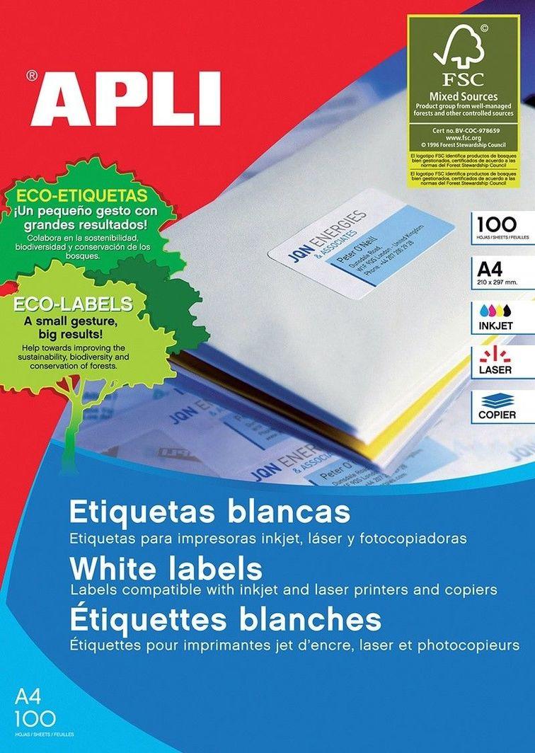 Apli Etykiety uniwersalne APLI, 70x50,8mm, prostokątne, białe 100 ark. 1