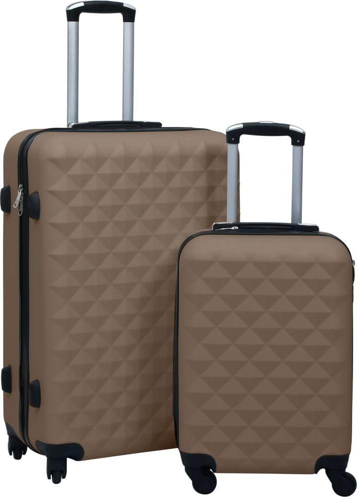 vidaXL Zestaw twardych walizek na kółkach, 2 szt., brązowy, ABS 1