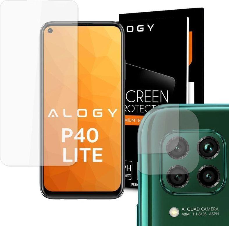Alogy Szkło hartowane Alogy na ekran do Huawei P40 Lite + 2x Szkło Alogy na obiektyw uniwersalny 1