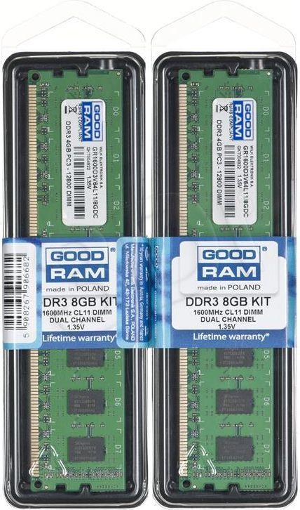 Pamięć GoodRam DDR3L, 8 GB, 1600MHz, CL11 (GR1600D3V64L11S/8GDC) 1