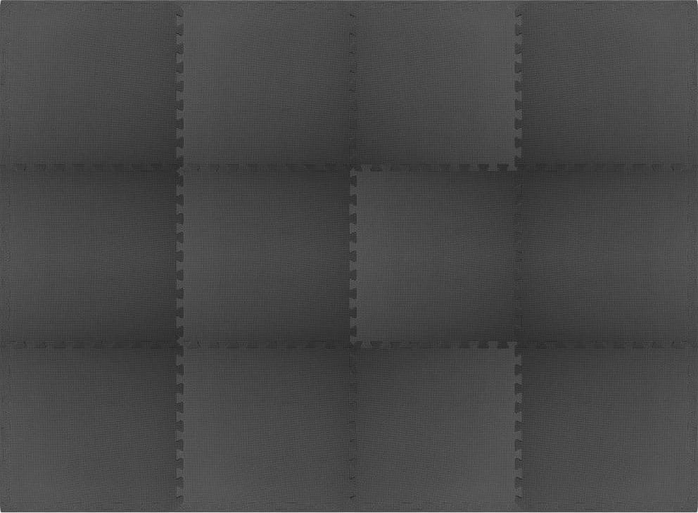 vidaXL Maty podłogowe, 12 szt., 4,32 , pianka EVA, czarne 1