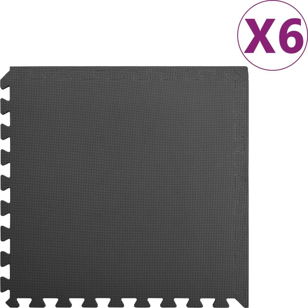 vidaXL Maty podłogowe, 6 szt., 2,16 , pianka EVA, czarne 1