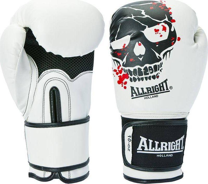 Allright RĘKAWICE BOKSERSKIE SKULL 10oz białe 1