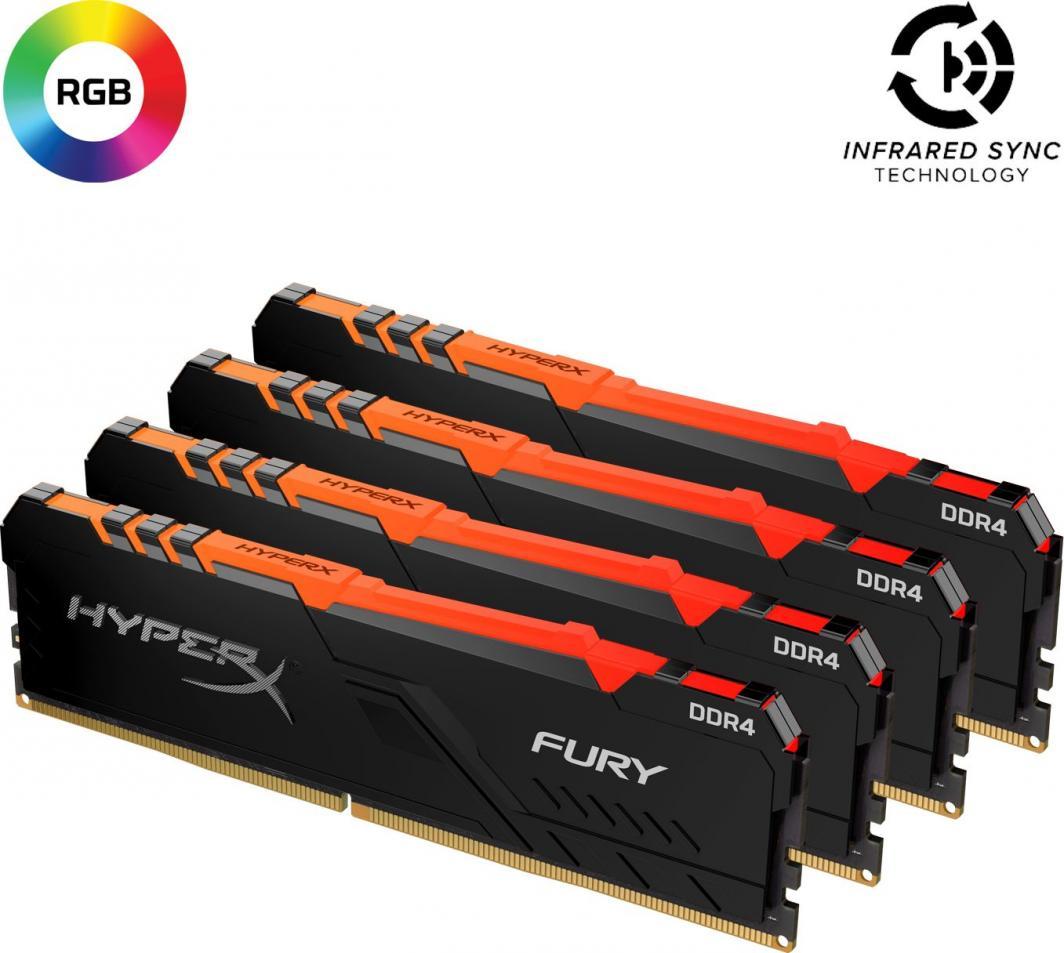 Pamięć HyperX Fury RGB, DDR4, 128 GB, 3600MHz, CL18 (HX436C18FB3AK4/128) 1