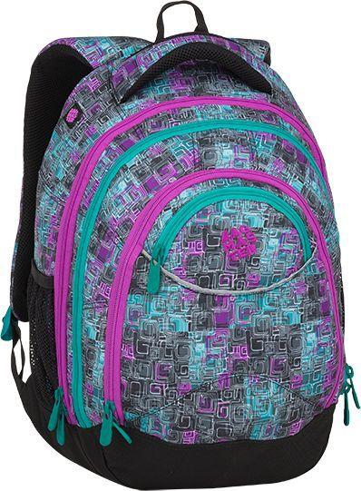 BAGMASTER Plecak szkolny trzykomorowy Energy 9 C Violet/green/gray 1