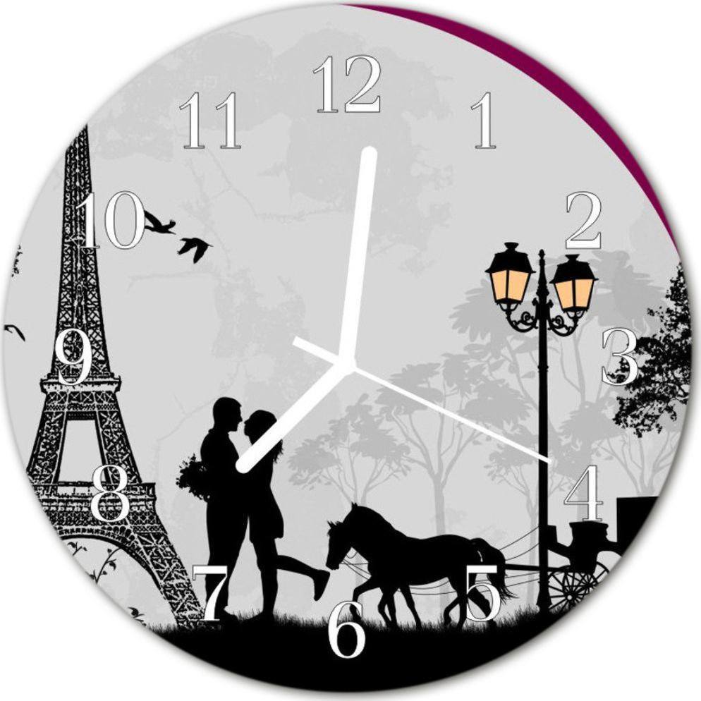 Tulup Zegar szklany okrągły Miłość Paryżfi30 cm - 57832079 1