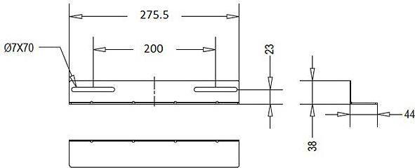 Linkbasic szyna montażowa 275mm do szaf rack 19'' o głębokości 450mm szara(do 100kg) (CFA45-2.0-B) 1