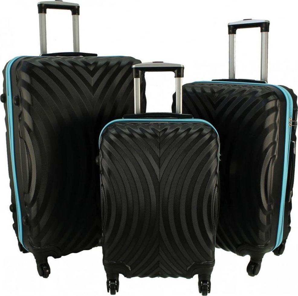 PELLUCCI Zestaw 3 walizek PELLUCCI RGL 760 Czarno Turkusowe uniwersalny 1