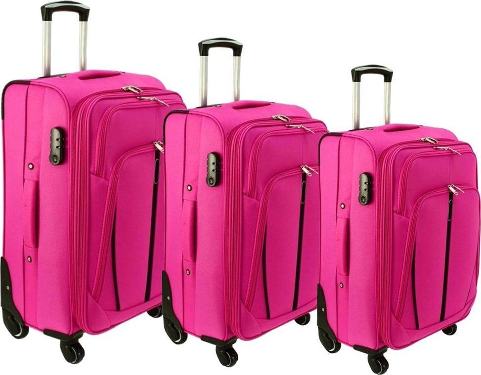PELLUCCI Zestaw 3 walizek PELLUCCI RGL S-020 Różowe uniwersalny 1