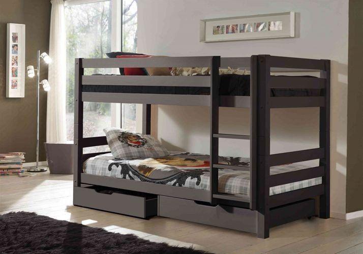 Vipack Zestaw Drewniane łóżko dla dzieci piętrowe Pino z dostawką - sosna ciemnoszara uniw 1