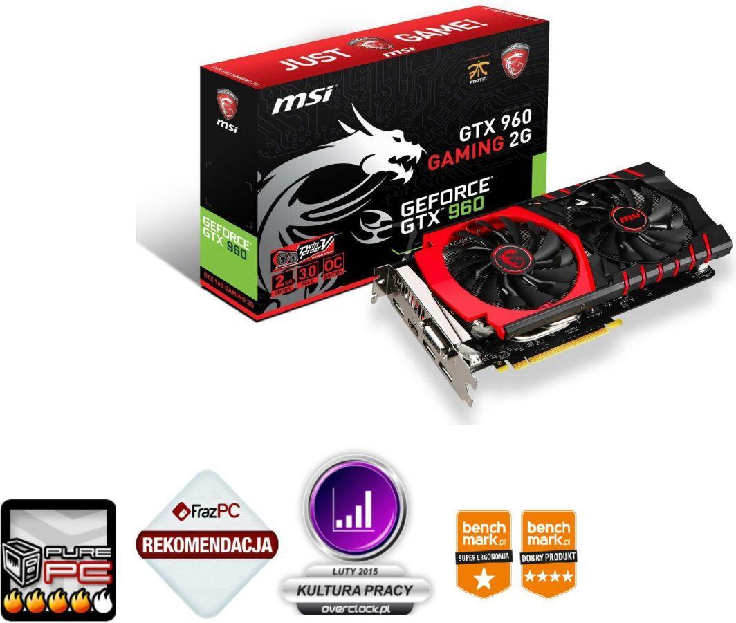 Karta graficzna MSI GeForce GTX 960 GAMING 2GB GDDR5 (128 bit) HDMI, DVI-I, 3x DP (GTX 960 GAMING 2G) 1