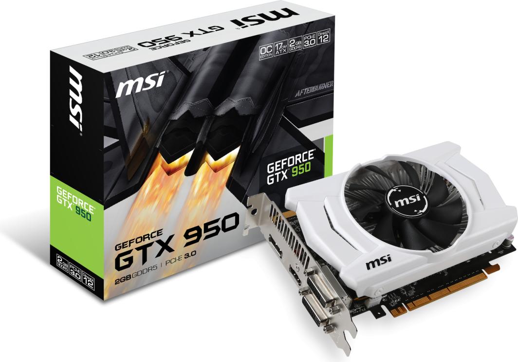Karta graficzna MSI GeForce GTX 950 OC 2 GB GDDR5, 128 Bit, HDMI, DP, DVI-D, DVI-I, Box 1