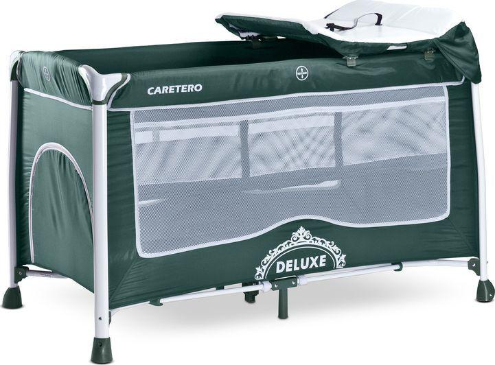 Caretero Łóżeczko turystyczne dwupoziomowe Caretero Deluxe green 1