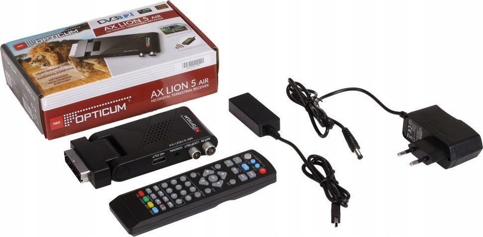 Tuner TV Opticum Tuner naziemny Opticum AX LION 5 AIR DVB-T2 H.265 1