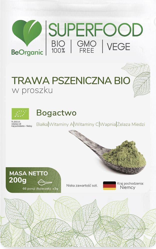 Beorganic Trawa Pszeniczna Bio W Proszku 200G Beorganic Białka Witamina A C Wapń Żelazo Miedź Triticum Aestivum 1