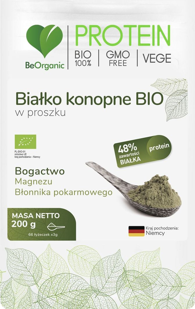 Beorganic Białko Konopne Bio W Proszku 200G Beorganic Magnez Błonnik Pokarmowy 1