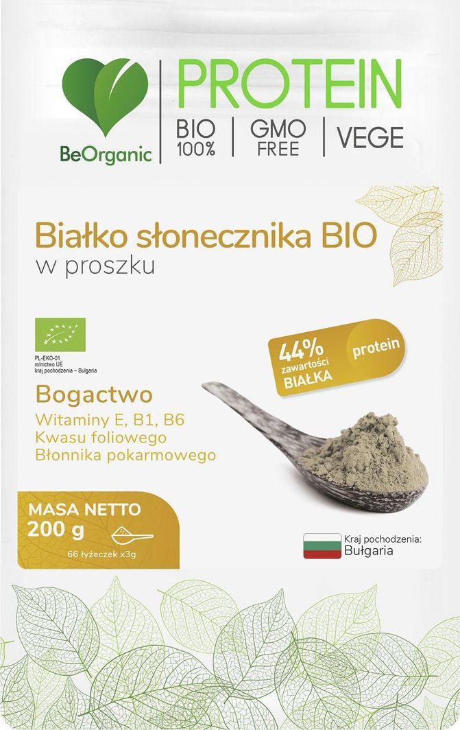 Beorganic Białko Słonecznika Bio W Proszku 200G Beorganic Witamina E B1 B6 Kwas Foliowy Błonnik Pokarmowy 1
