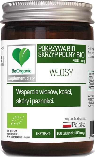 Beorganic Skrzyp Polny + Pokrzywa Bio 400Mg 100 Tabl. Beorganic Medicaline Ekstr. Pokrzywy Urtica Dioica L. Skrzypu Equisetum Arvense L 1