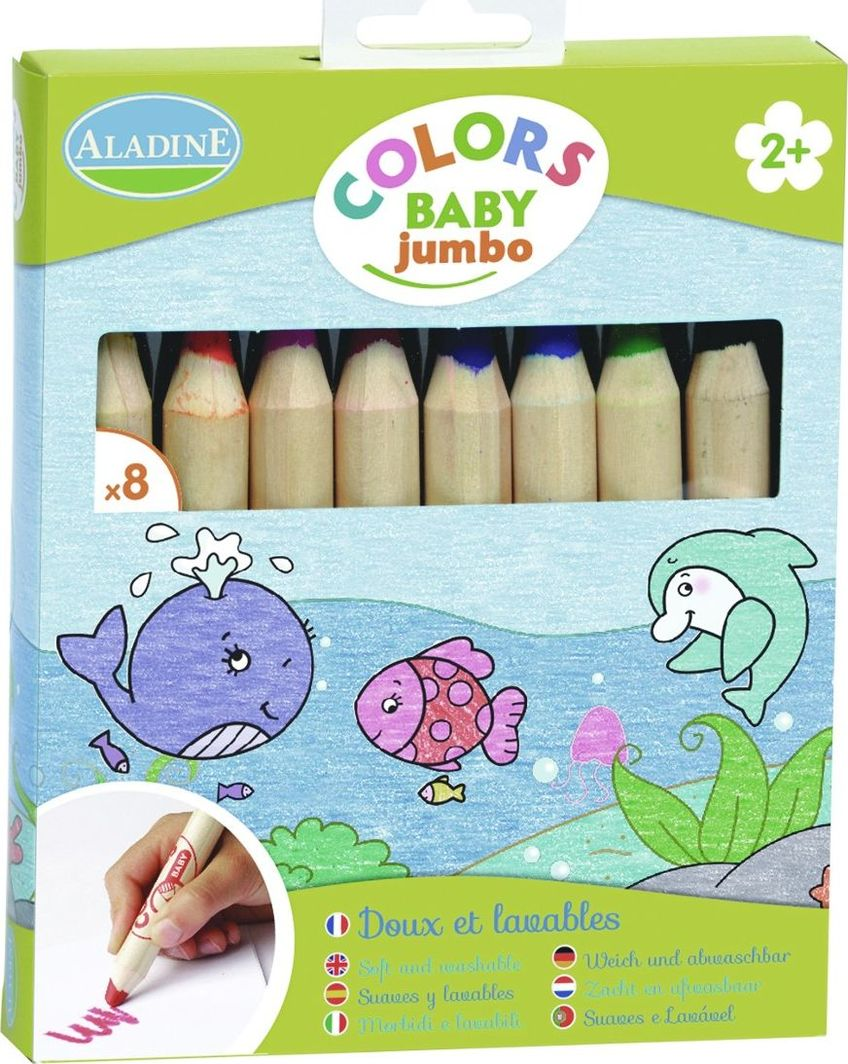 Aladine Kredki dla dzieci Jumbo 8szt (Ala42009) 1