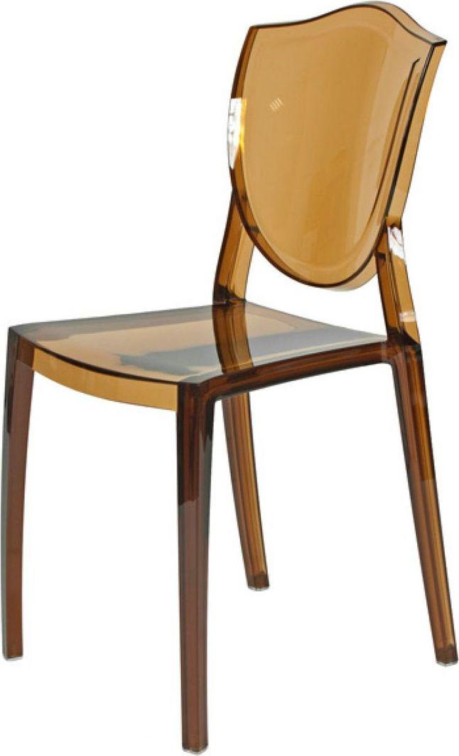 Artdeco Krzesło Designerskie PRINCESS transparentne brązowe 1