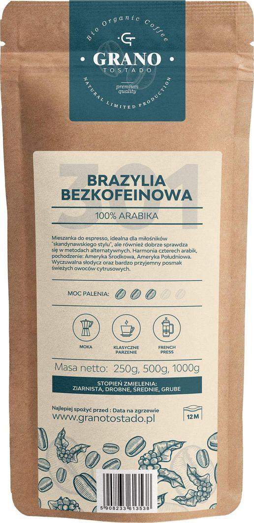 Kawa ziarnista Grano Tostado Brazylia bezkofeinowa 1kg 1
