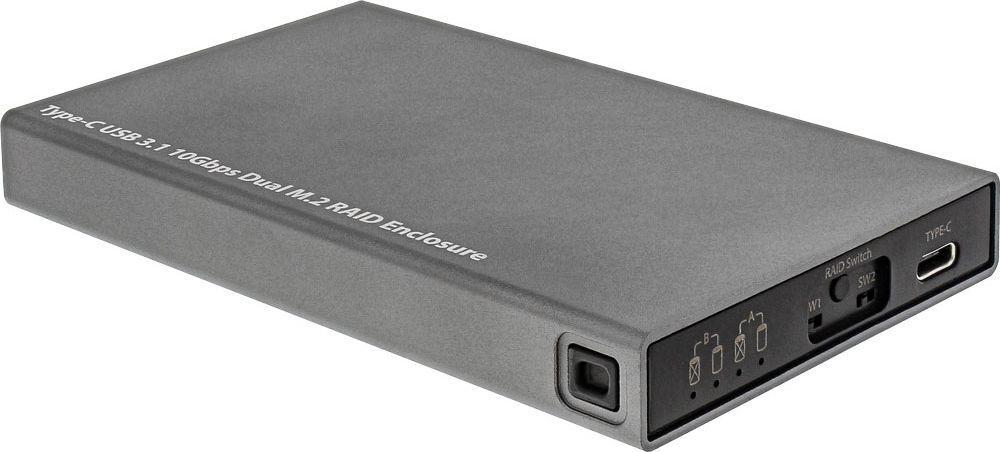 Kieszeń InLine USB-C 3.2 Gen 2 - 2x M.2 SATA SSD (00031C) 1