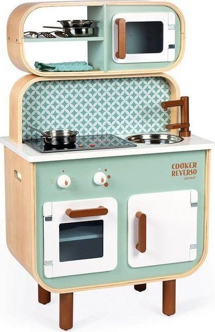 Janod Dwustronna drewniana kuchnia z pralką 2w1 z dźwiękiem,światłem LED i 8 akcesoriami 1