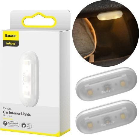 Baseus Lampka samochodowa Capsule do oświetlania wnętrza 2 szt. biała (BSU1710WHT) 1