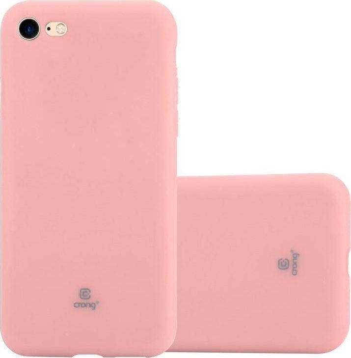 Crong Crong Soft Skin Cover - Zestaw etui iPhone SE 2020 / 8 / 7 (różowy) + szkło hybrydowe 9H (biała ramka) 1